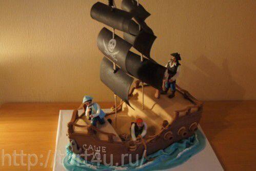 Торт с пиратами кораблями