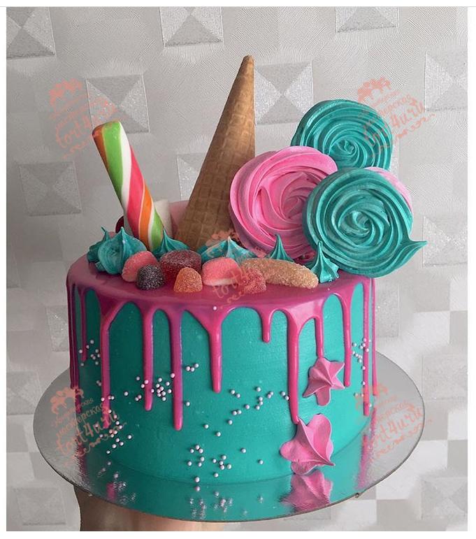 Как сделать потеки глазури на торте