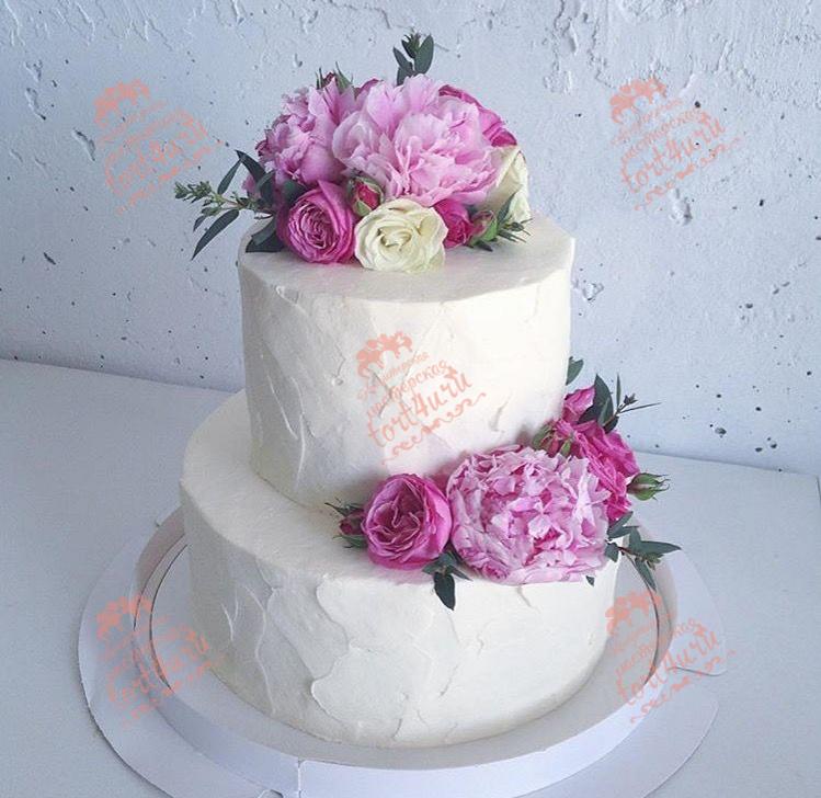 Свадебный торт 2 яруса без мастики