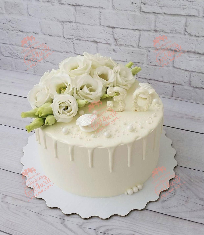 Торт на жемчужную свадьбу без мастики фото