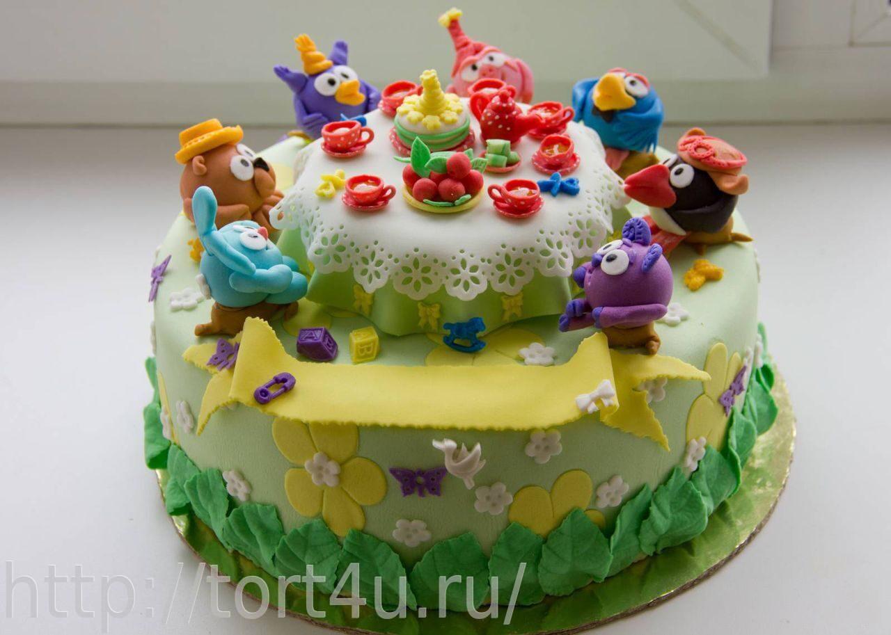 фото торт смешарики из мастики